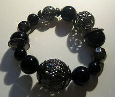 Bracelet Elasticated various Beaded in black and dark tone metal Fabulous!