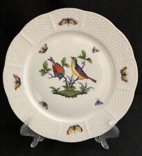 """HEREND ROTHSCHILD BIRD 9-1/8"""" LUNCHEON DESSERT PLATE GOLD RIM 521 / RO #1"""
