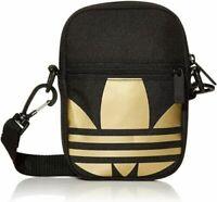 Adidas Trefoil Crossbody Festival Bag Black and Gold FT8918