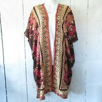 New Angie Kimono M Medium Brown Paisley Floral Scarf Print Boho Peasant Cardigan