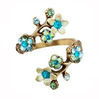 Michal Negrin Flowers Spiral Ring 11057 Wrap Turquoise Brass #100110570156