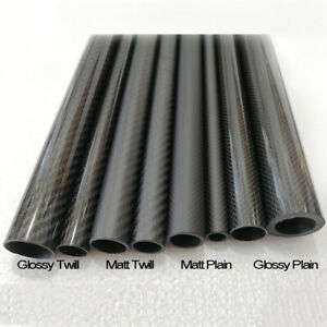 3K Carbon Fiber Tube 5mm 6mm 7mm 8mm 9mm 10mm x 500mm Roll Wrapped Glossy Matt