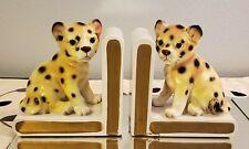New ListingVintage Lefton Leopard Cheetah Cubs Porcelain Book Ends