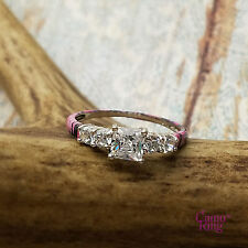 Muddy Girl Camo - Custom 5 Stone Silver & CZ Ring - Size 9 by CamoRing.com