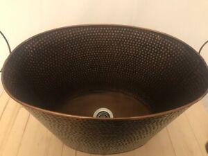 Vessel Sink, Galvanized Tub, Garden, Bathroom, Kitchen, Antique Hammered Copper
