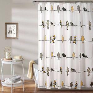 "LUSH DECOR Rowley Birds  Shower Curtain | Yellow/Gray | 72"" x 72"" | 🆕"