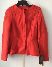 NWT Zara Basic Orange Wool Blazer Zipper front Long Sleeve Sexy Size M $99