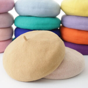 100% Wool Beret Plain Colours Ladies French Paris Hat 30 Colors