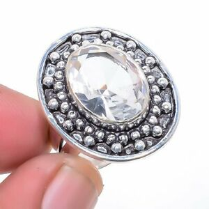 White Topaz 925 Sterling Silver Jewelry Ring s.8 F255
