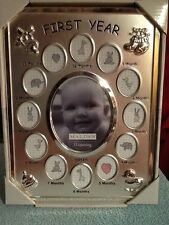 Malden Baby's First Year Collage Silver Metal Picture Frame 13 Opening New w box