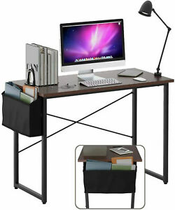 """Modern Computer Desk 40"""" Study Writing Table Home Office with Storage Bag Coffee"""