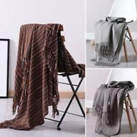 Main tricotant couverture de couvre-lit de chaise de jet a gland 130 * 160cm