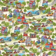 Travel Fabric - Road Trip Town Building Scene Green - Henry Glass YARD
