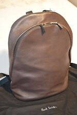 Paul Smith Leather Brown/Burgundy Double Zip Rucksack Backpack Bag Mens Unisex