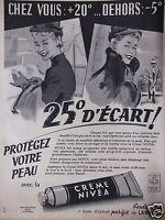 PUBLICITÉ DE PRESSE 1957 CRÈME NIVÉA A BASE D'EXTRAIT PURIFIÉ DE LANOLINE