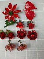 Variety Red Lot Metal Enamel Plastic Glass Flower Earrings &1 Poinsettia Pin