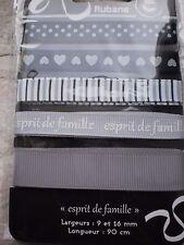 RUBAN  ESPRIT  DE  FAMILLE  GRIS  /  NOIR