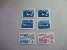 TONGA POSTAGE STAMPS Scott 541-4, 549-50  Never Hinged Airplanes, Bank Notes