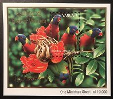 VANUATU RAINBOW LORIKEET STAMPS S/S 1999 MNH PARROT BIRD WILDLIFE GOLD FOIL WORD