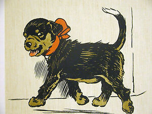Cecil Aldin c 1900 BLACK PUPPY w Red Bow Up to Some Mischief DOG Print Matted