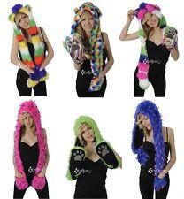 Ladies Girls Funky Neon Faux Fur Spirit Hood Hat Scarf Pocket Gloves Winter Gift