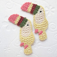 """10 pcs x 2"""" Cute Machine Crochet Cotton Parrot Appliques/Bird/Washable St247Y"""