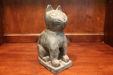 Unique Vintage Wooden Cat Figurine Carving from Thailand 9""
