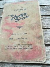 AUSTIN SEVEN HANDBOOK 1400. MAY 1936. ORIGINAL FACTORY PUBLICATION