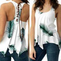Women Plus Size Tank Tops Feather Lace Up Vest Irregular Tunic Vintage T-Shirt