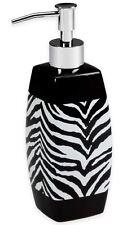 Black White Zebra Lotion Pump Dispenser Bottle Bath Container Modern Bathroom