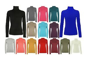 LADIES SLEEVE POLO ROLL TURTLE NECK TOP PLAIN WOMEN STRETCH T SHIRT JUMPER 8-26