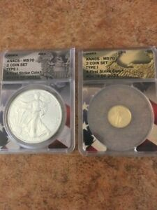 SILVER & GOLD 2 coin set TYPE I **FIRST STRIKE** set 424 of 2021