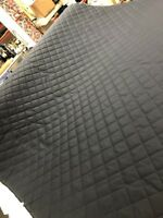 Ready Quilted Black Waxed Cotton Fabric 2inch Box Pre Quilted Wax Fabric Padded