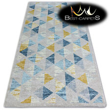 """AMAZING THICK MODERN SOFT RUGS """"NORDIC yellow triangles floor carpet small large"""
