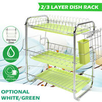 2/3 Tier Rack Dish Cup Drainer Kitchen Tool Storage Cutlery Holder Drip Tray !