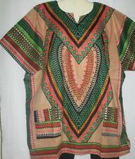 Womens Top Shirt Dashiki Beige Green Cotton Free Size Fits Size 2X 3X
