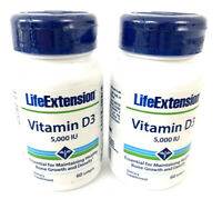 2 Pack- Life Extension Vitamin D3 5000 IU 60 softgels Ea Bottle 5/21 Expire Date