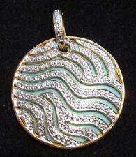 Gold Over Sterling Turquoise & Diamond Large Pendant Slide