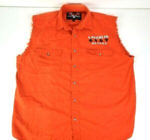 V Twin Motorcycle Laughlin 2005 Sleeveless Orange Button Up Shirt Size Large