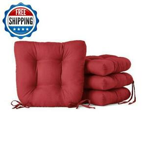 """Chair Seat Pad Cushion 14x14"""" Indoor Dining Home Decor Microfiber 4-Pack Red"""
