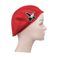 Womens Headcovering Red Beret Hat With Hummingbird Accent Girls Trendy Cute Hat