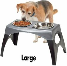 Elevated Dog Feeder Large Raised Pet Bowls 2 Dish Black Gray 11 H x 24 W New