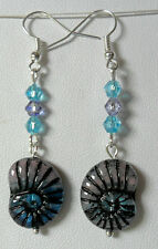 Dangle earrings - blue/mauve glass spiral shell drops 57mm