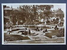 West Sussex WORTHING Denton Gardens & The Lily Pool c1930 RP Old Postcard