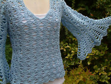 Blue Lacey Crochet 70s Bell Sleeve Boho Sweater Jumper Quality Cotton Handmade