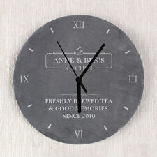 Personalised Slate Clock Kitchen Wedding Home Engagement Gift P010576