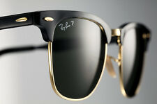 POLARIZED RayBan ALUMINIUM CLUBMASTER Black Gold Sunglasses RB 3507 136/N5 51 MM