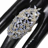 Unheated Marquise Tanzanite Sapphire Diamond Cut 925 Sterling Silver Big Ring 9