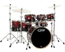 DW PDP Concept Maple 7 Rock Pearlescent Red to Black Fade Schlagzeug Hardware