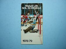 1978/79 MUTUAL LIFE OF CANADA NHL HOCKEY SCHEDULE